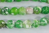 CAA370 15.5 inches 8mm faceted round fire crackle agate beads