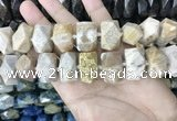 CAA3715 14*22mm - 15*25mm faceted nuggets chrysanthemum agate beads