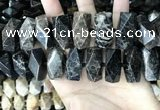 CAA3718 13*26mm - 15*30mm faceted nuggets chrysanthemum agate beads