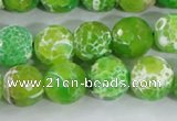 CAA372 15.5 inches 12mm faceted round fire crackle agate beads