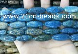 CAA3721 15.5 inches 9*22mm - 11*25mm rice chrysanthemum agate beads