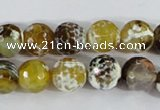 CAA380 15.5 inches 10mm faceted round fire crackle agate beads