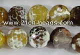 CAA382 15.5 inches 14mm faceted round fire crackle agate beads