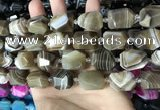 CAA3823 13*17mm - 18*22mm faceted nuggets line agate beads