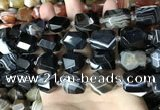 CAA3824 13*17mm - 18*22mm faceted nuggets line agate beads