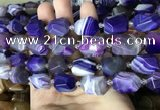 CAA3825 13*17mm - 18*22mm faceted nuggets line agate beads