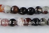 CAA385 15.5 inches 10mm faceted round fire crackle agate beads