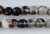CAA386 15.5 inches 12mm faceted round fire crackle agate beads