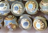 CAA3869 15 inches 8mm round tibetan agate beads wholesale