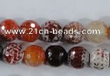 CAA387 15.5 inches 14mm faceted round fire crackle agate beads