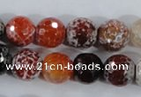 CAA388 15.5 inches 16mm faceted round fire crackle agate beads