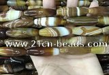 CAA4167 15.5 inches 10*30mm rice line agate beads wholesale