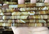 CAA4180 15.5 inches 8*20mm tube line agate beads wholesale