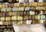 CAA4192 15.5 inches 11*15mm drum line agate gemstone beads