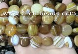 CAA4205 15.5 inches 16mm flat round line agate beads wholesale
