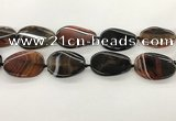 CAA4305 15.5 inches 30*40mm twisted oval line agate beads