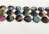 CAA4408 15.5 inches 20mm flat round agate druzy geode beads