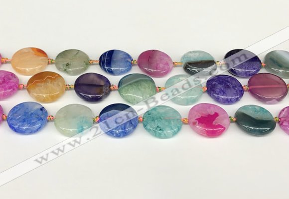 CAA4412 15.5 inches 20mm flat round agate druzy geode beads