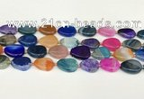CAA4421 15.5 inches 15*20mm flat round agate druzy geode beads