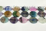 CAA4428 15.5 inches 25mm flat round agate druzy geode beads