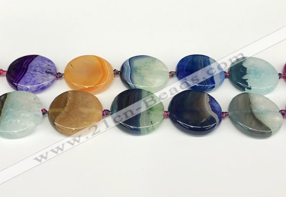 CAA4429 15.5 inches 30mm flat round agate druzy geode beads