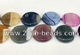 CAA4430 15.5 inches 35mm flat round agate druzy geode beads
