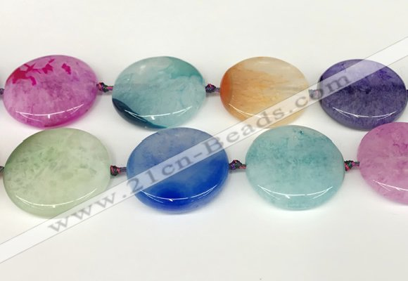 CAA4431 15.5 inches 35mm flat round agate druzy geode beads