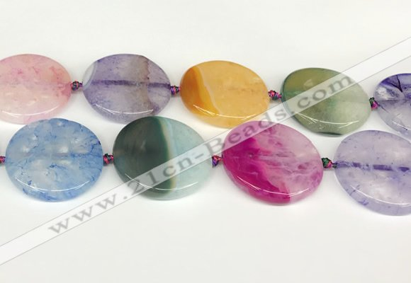 CAA4435 15.5 inches 35mm flat round agate druzy geode beads