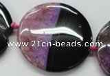 CAA449 15.5 inches 45mm flat round agate druzy geode  beads