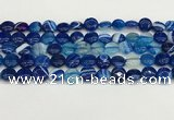 CAA4585 15.5 inches 10mm flat round banded agate beads wholesale
