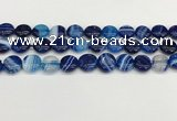 CAA4593 15.5 inches 12mm flat round banded agate beads wholesale