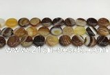 CAA4596 15.5 inches 14mm flat round banded agate beads wholesale