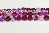 CAA4598 15.5 inches 14mm flat round banded agate beads wholesale