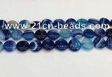 CAA4601 15.5 inches 14mm flat round banded agate beads wholesale