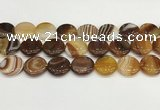 CAA4620 15.5 inches 20mm flat round banded agate beads wholesale