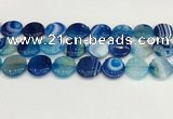 CAA4625 15.5 inches 20mm flat round banded agate beads wholesale
