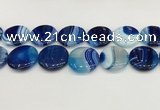 CAA4641 15.5 inches 30mm flat round banded agate beads wholesale