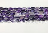 CAA4646 15.5 inches 10*14mm oval banded agate beads wholesale