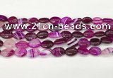 CAA4647 15.5 inches 10*14mm oval banded agate beads wholesale