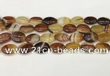 CAA4661 15.5 inches 13*18mm oval banded agate beads wholesale