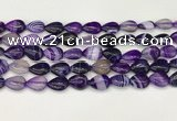 CAA4687 15.5 inches 10*14mm flat teardrop banded agate beads wholesale