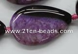 CAA475 15.5 inches 25*38mm flat teardrop agate druzy geode beads