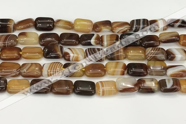 CAA4789 15.5 inches 10*14mm rectangle banded agate beads wholesale