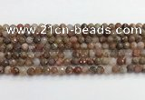 CAA5010 15.5 inches 6mm faceted round flower agate beads