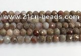 CAA5012 15.5 inches 10mm faceted round flower agate beads