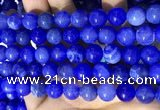 CAA5032 15.5 inches 10mm round blue dragon veins agate beads