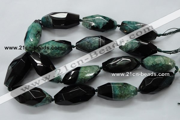CAA509 15.5 inches 22*50mm faceted rice agate druzy geode beads