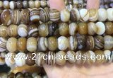 CAA5106 15.5 inches 10*14mm rondelle striped agate beads