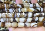 CAA5107 15.5 inches 10*14mm drum striped agate beads wholesale