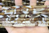 CAA5108 15.5 inches 6*25mm rice striped agate beads wholesale